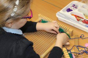 Child frame loom weaving